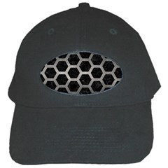 Hexagon2 Black Marble & Gray Metal 1 Black Cap by trendistuff