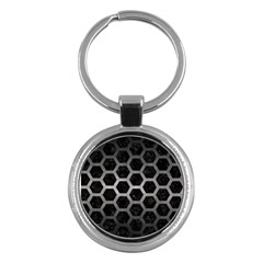 Hexagon2 Black Marble & Gray Metal 1 Key Chains (round)  by trendistuff
