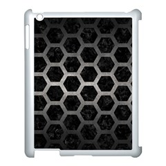 Hexagon2 Black Marble & Gray Metal 1 Apple Ipad 3/4 Case (white) by trendistuff