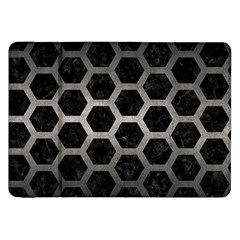 Hexagon2 Black Marble & Gray Metal 1 Samsung Galaxy Tab 8 9  P7300 Flip Case by trendistuff