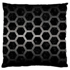 Hexagon2 Black Marble & Gray Metal 1 Standard Flano Cushion Case (one Side) by trendistuff