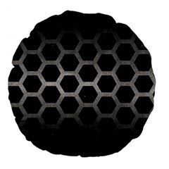 Hexagon2 Black Marble & Gray Metal 1 Large 18  Premium Flano Round Cushions by trendistuff