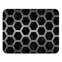 Hexagon2 Black Marble & Gray Metal 1 Double Sided Flano Blanket (large)  by trendistuff