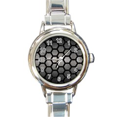 HEXAGON2 BLACK MARBLE & GRAY METAL 1 (R) Round Italian Charm Watch