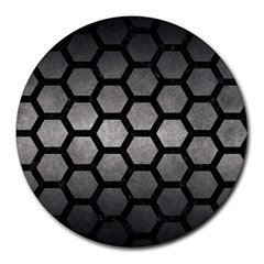 HEXAGON2 BLACK MARBLE & GRAY METAL 1 (R) Round Mousepads