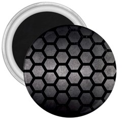 HEXAGON2 BLACK MARBLE & GRAY METAL 1 (R) 3  Magnets
