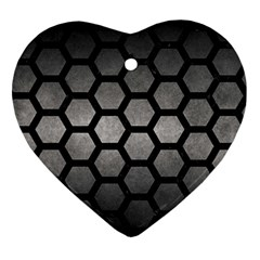HEXAGON2 BLACK MARBLE & GRAY METAL 1 (R) Ornament (Heart)