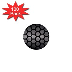 HEXAGON2 BLACK MARBLE & GRAY METAL 1 (R) 1  Mini Buttons (100 pack)