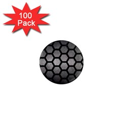 HEXAGON2 BLACK MARBLE & GRAY METAL 1 (R) 1  Mini Magnets (100 pack)