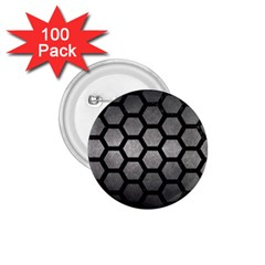 HEXAGON2 BLACK MARBLE & GRAY METAL 1 (R) 1.75  Buttons (100 pack)