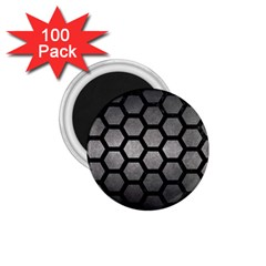 HEXAGON2 BLACK MARBLE & GRAY METAL 1 (R) 1.75  Magnets (100 pack)
