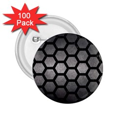HEXAGON2 BLACK MARBLE & GRAY METAL 1 (R) 2.25  Buttons (100 pack)