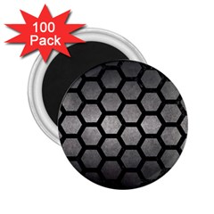 HEXAGON2 BLACK MARBLE & GRAY METAL 1 (R) 2.25  Magnets (100 pack)