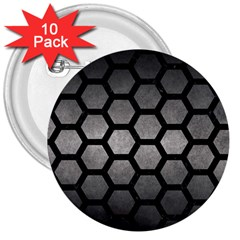 HEXAGON2 BLACK MARBLE & GRAY METAL 1 (R) 3  Buttons (10 pack)