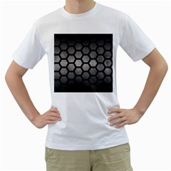 HEXAGON2 BLACK MARBLE & GRAY METAL 1 (R) Men s T-Shirt (White) (Two Sided)