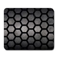 HEXAGON2 BLACK MARBLE & GRAY METAL 1 (R) Large Mousepads