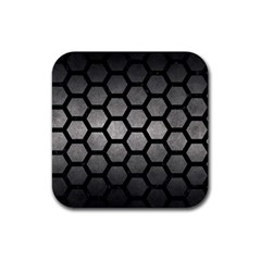 HEXAGON2 BLACK MARBLE & GRAY METAL 1 (R) Rubber Square Coaster (4 pack)