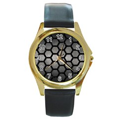 HEXAGON2 BLACK MARBLE & GRAY METAL 1 (R) Round Gold Metal Watch