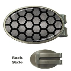 HEXAGON2 BLACK MARBLE & GRAY METAL 1 (R) Money Clips (Oval)