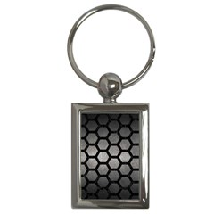HEXAGON2 BLACK MARBLE & GRAY METAL 1 (R) Key Chains (Rectangle)