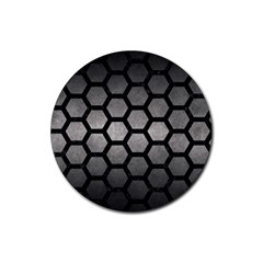 HEXAGON2 BLACK MARBLE & GRAY METAL 1 (R) Rubber Coaster (Round)