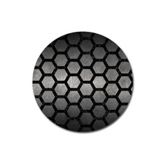 HEXAGON2 BLACK MARBLE & GRAY METAL 1 (R) Magnet 3  (Round)