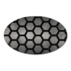 HEXAGON2 BLACK MARBLE & GRAY METAL 1 (R) Oval Magnet