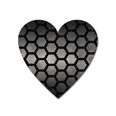 HEXAGON2 BLACK MARBLE & GRAY METAL 1 (R) Heart Magnet