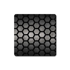 HEXAGON2 BLACK MARBLE & GRAY METAL 1 (R) Square Magnet