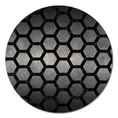 HEXAGON2 BLACK MARBLE & GRAY METAL 1 (R) Magnet 5  (Round)
