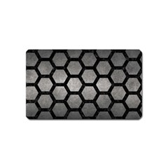 HEXAGON2 BLACK MARBLE & GRAY METAL 1 (R) Magnet (Name Card)