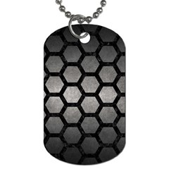 HEXAGON2 BLACK MARBLE & GRAY METAL 1 (R) Dog Tag (One Side)