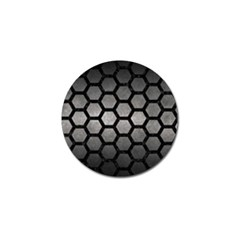 Hexagon2 Black Marble & Gray Metal 1 (r) Golf Ball Marker by trendistuff