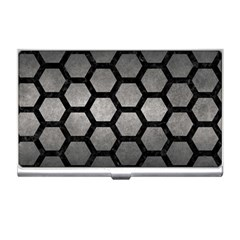 HEXAGON2 BLACK MARBLE & GRAY METAL 1 (R) Business Card Holders