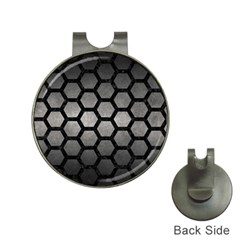 HEXAGON2 BLACK MARBLE & GRAY METAL 1 (R) Hat Clips with Golf Markers