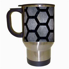 Hexagon2 Black Marble & Gray Metal 1 (r) Travel Mugs (white) by trendistuff
