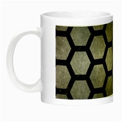 Hexagon2 Black Marble & Gray Metal 1 (r) Night Luminous Mugs by trendistuff