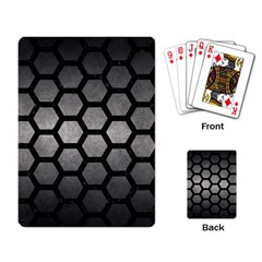 HEXAGON2 BLACK MARBLE & GRAY METAL 1 (R) Playing Card