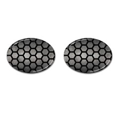 HEXAGON2 BLACK MARBLE & GRAY METAL 1 (R) Cufflinks (Oval)