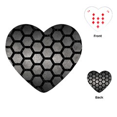HEXAGON2 BLACK MARBLE & GRAY METAL 1 (R) Playing Cards (Heart)