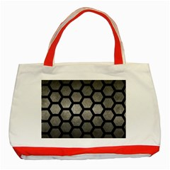 HEXAGON2 BLACK MARBLE & GRAY METAL 1 (R) Classic Tote Bag (Red)