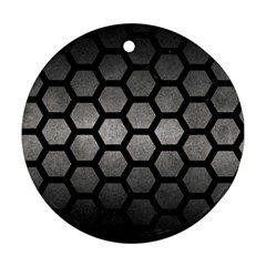 HEXAGON2 BLACK MARBLE & GRAY METAL 1 (R) Round Ornament (Two Sides)