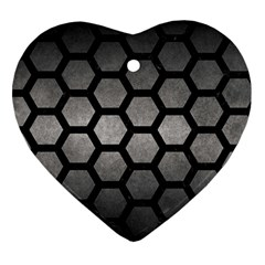 HEXAGON2 BLACK MARBLE & GRAY METAL 1 (R) Heart Ornament (Two Sides)