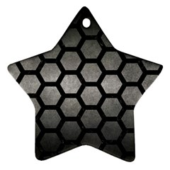 HEXAGON2 BLACK MARBLE & GRAY METAL 1 (R) Star Ornament (Two Sides)
