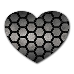 HEXAGON2 BLACK MARBLE & GRAY METAL 1 (R) Heart Mousepads
