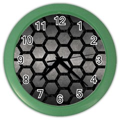 Hexagon2 Black Marble & Gray Metal 1 (r) Color Wall Clocks by trendistuff