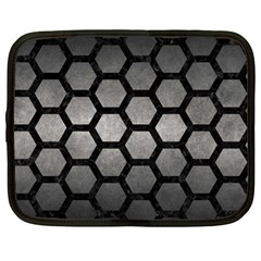 HEXAGON2 BLACK MARBLE & GRAY METAL 1 (R) Netbook Case (Large)