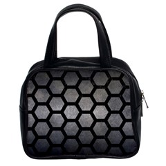 Hexagon2 Black Marble & Gray Metal 1 (r) Classic Handbags (2 Sides) by trendistuff