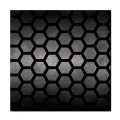 HEXAGON2 BLACK MARBLE & GRAY METAL 1 (R) Face Towel