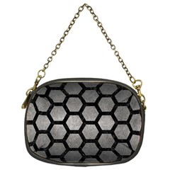 HEXAGON2 BLACK MARBLE & GRAY METAL 1 (R) Chain Purses (One Side)
